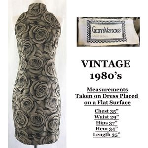 GIANNI VERSACE Vintage 80's Rose Silk Sheath Dress